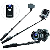 "Fugetek 49"" Professional Selfie Stick, Wireless Bluetooth Remote, iOS devices & Android phones, DSLR, Gopro, Ultra Extendable Monopod, Black"