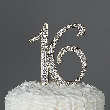 Amazon 16 cake topper gold 16th birthday party supplies sweet 16 cake topper gold 16th birthday party supplies sweet 16 rhinestone decoration gold junglespirit Gallery