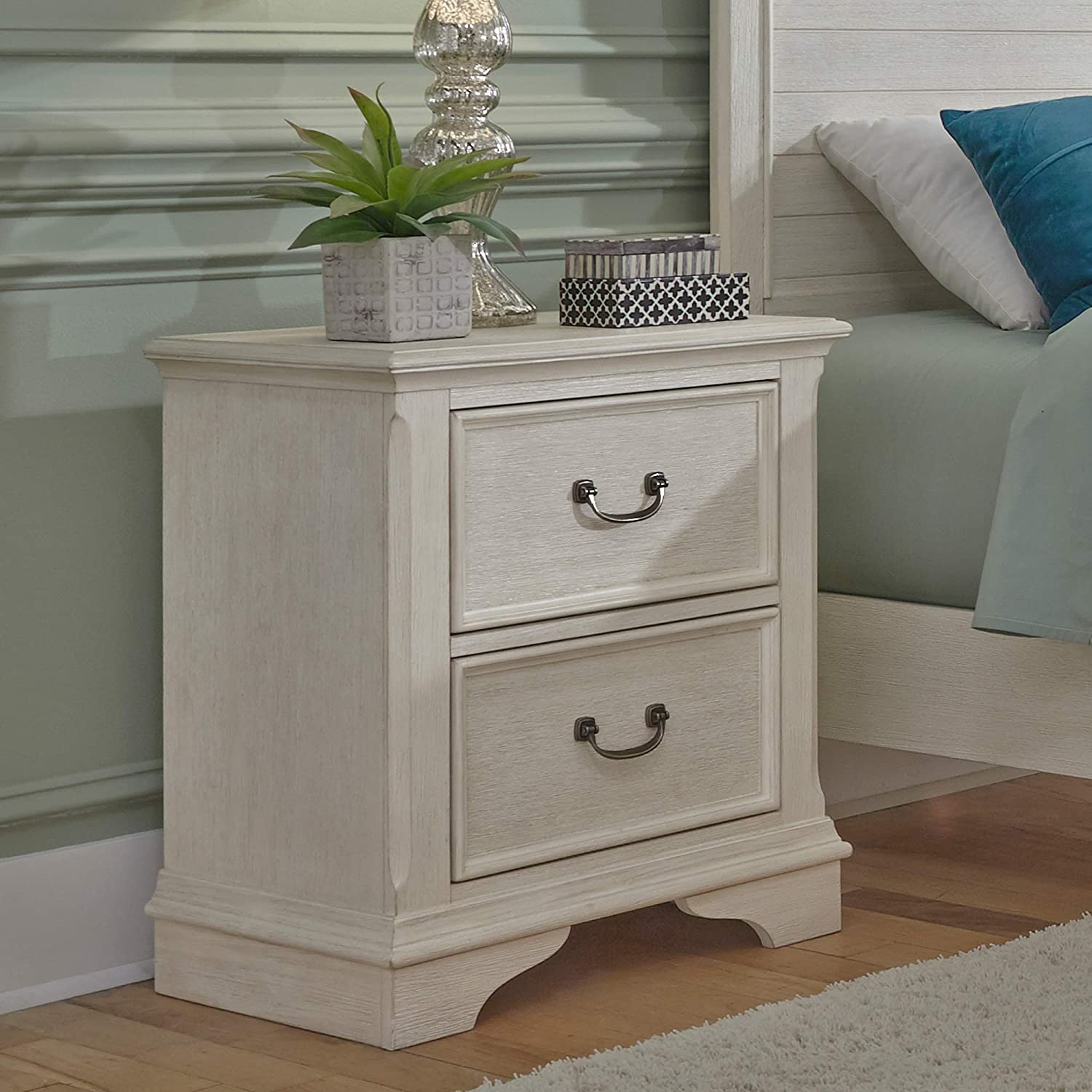 Liberty Furniture Industries Bayside 2 Drawer Night Stand, W24 x D17 x H28, White