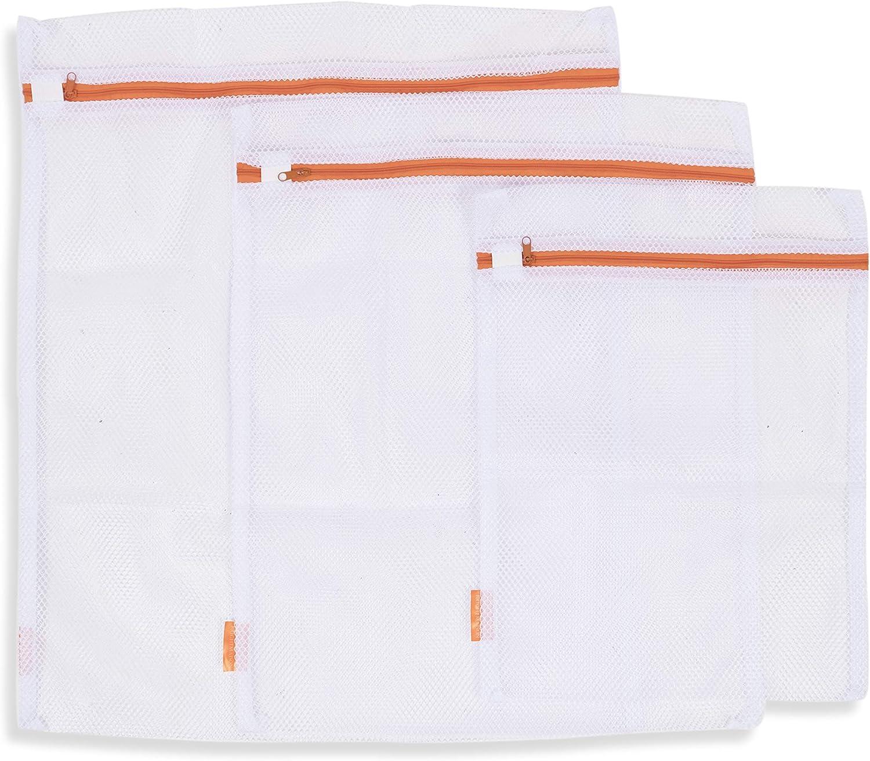 Premium-Quality Breathable Micro Mesh Fabric Lingerie Delicates Bra Underwear Hosiery Washing Bags White Set of 3