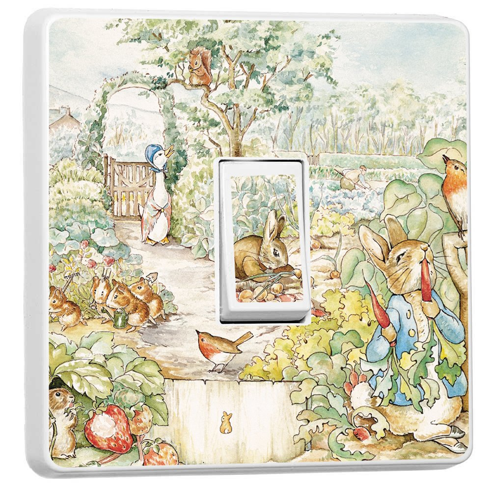 Beatrix Potter Light Switch Vinyl Cover Sticker Home Decoration Wall Children's Bedroom Playroom Fun Adhesive