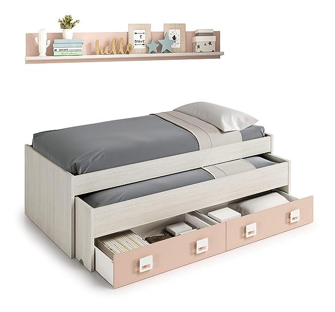 Miroytengo Pack Dormitorio Infantil Juvenil Cama Nido con Estante ...