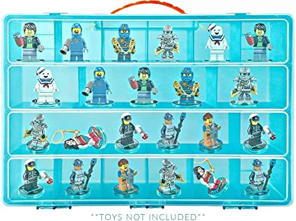 Life Made Better Carrying Case, Compatible with Lego Ninjago Mini Ninja Figurines, This Box is Not Created by Lego (Blue)
