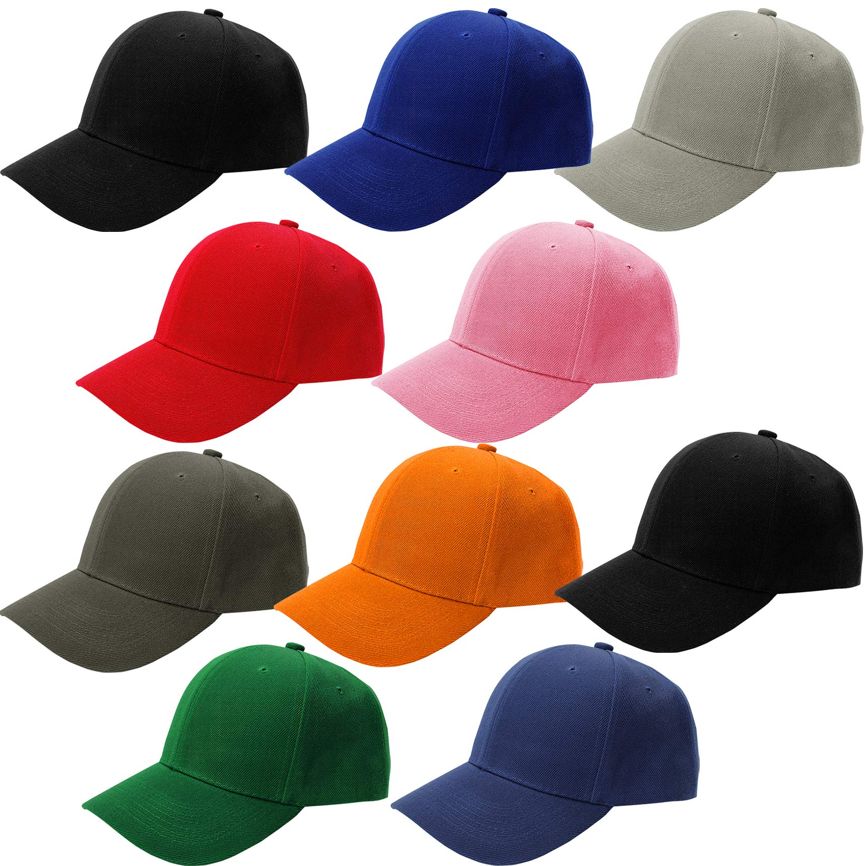 CoverYourHair Baseball Hats - Plain Dad Hat - Baseball Caps - Adjustable Sport Cap ,10 Pack Baseball Cap, Multi color,One Size