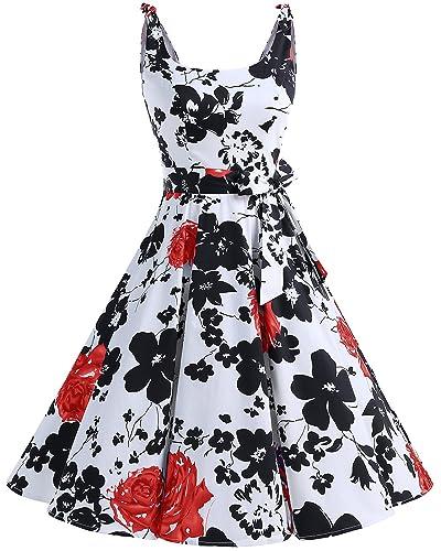 Bbonlinedress 1950's Bowknot Vintage Retro Polka Dot Rockabilly Swing Dress RedFlower 3XL