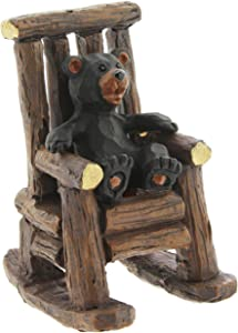 The Bridge Collection Black Bear Cub in Rocking Chair Figurine