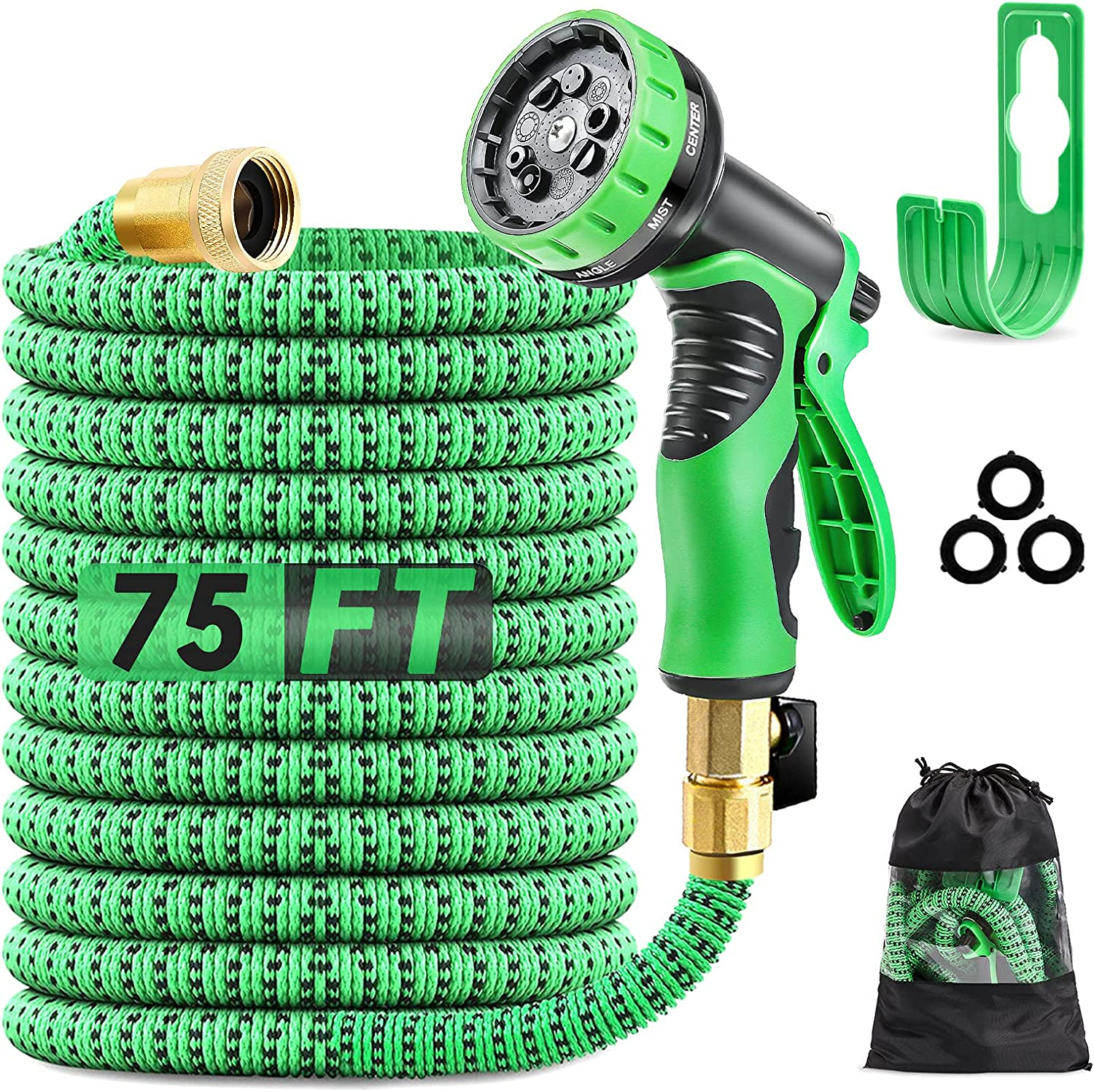 Expandable Garden Hose 75ft, PATHONOR Flexible Water Hose with 9 Function Spray Nozzle, Extra Strength Fabric with 3/4