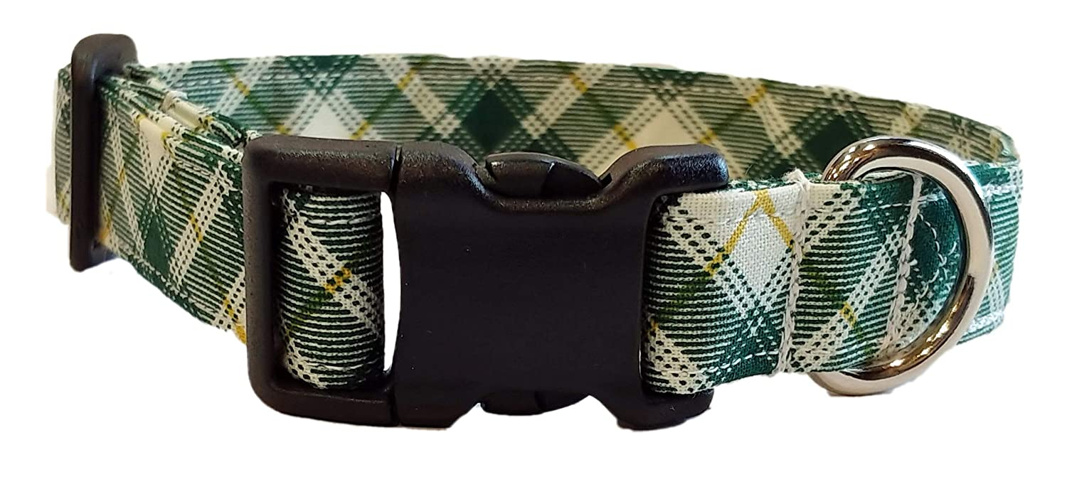 Puppy Christmas Holiday Bias Fabric Adjustable with Buckle and D Ring Preppy white Handmade by Britches4Stitches Green /& Gold Plaid Dog Collar