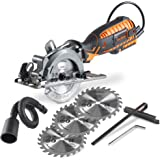 "VonHaus 4-1/2"" Compact Circular Saw 5.8 Amp with Adjustable Miter Function 0°- 45°, Dust Port, Vacuum Hose and 4x Blades for Wood Cutting"