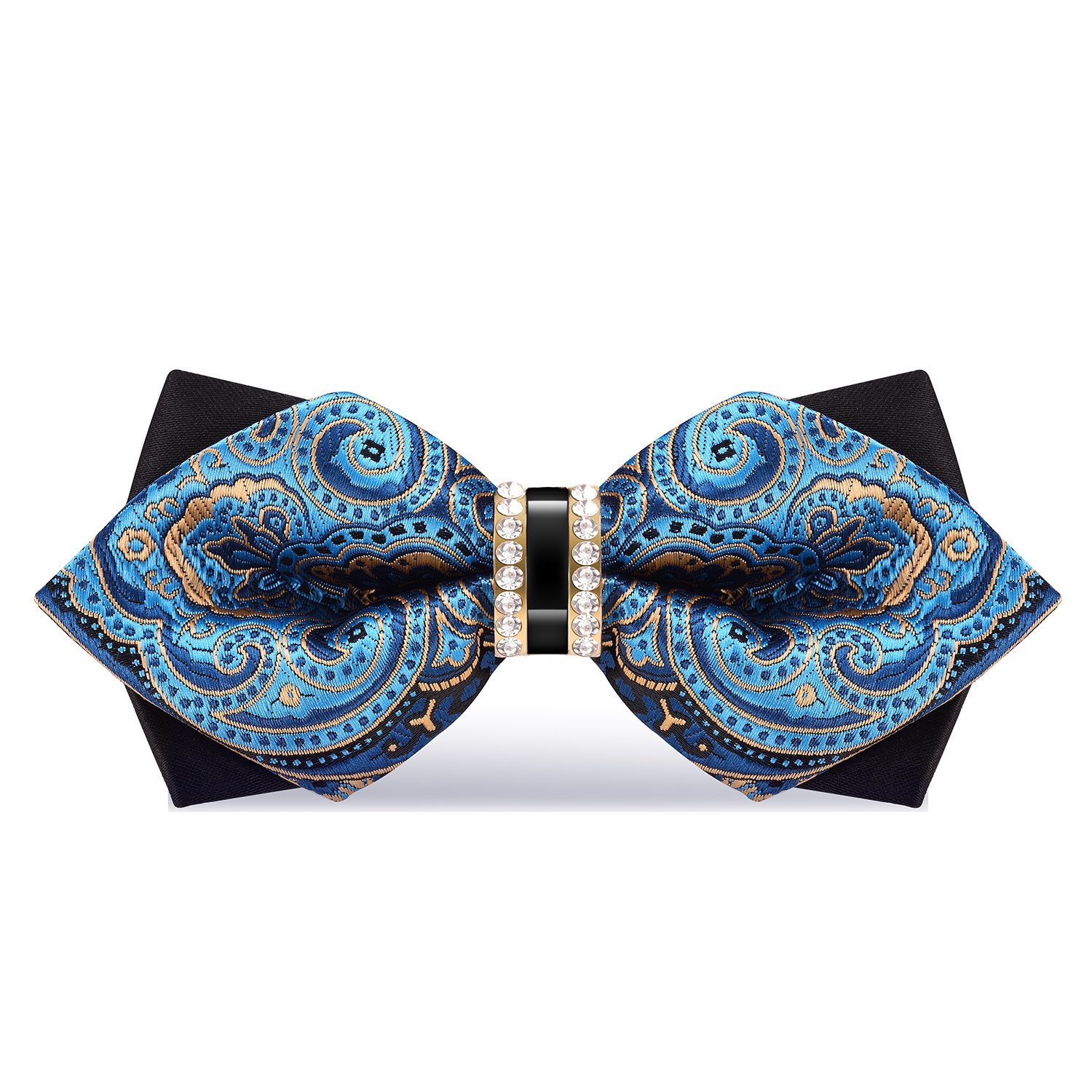 WEBO Bow Tie Rhinestone embellishment Adjustable Bowties(Blue paisley)