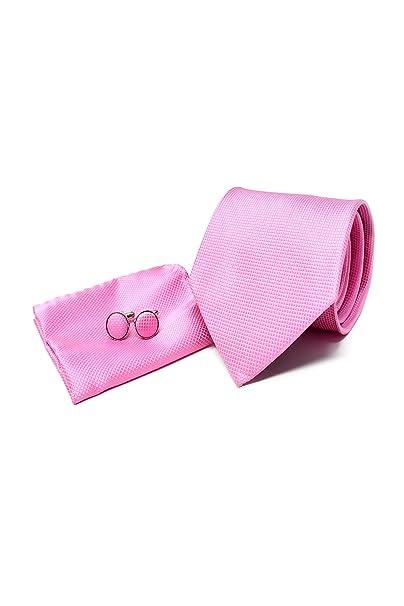 Oxford Collection Corbata de hombre, Pañuelo de Bolsillo y Gemelos Rosa - 100% Seda - Clásico, Elegante y Moderno - (Caja y Conjunto de Regalo, ideal ...