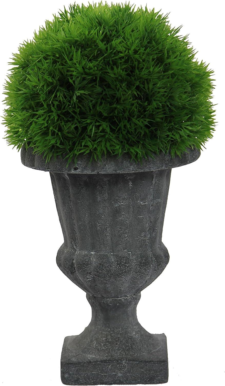 Green Admired By Nature GG7655-GREEN 13 Tall Artificial Desktop Eucalyptus Ball with Ceramic Pot