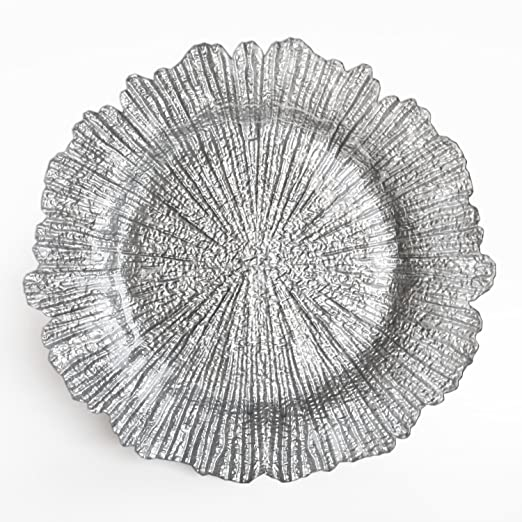 Christmas Tablescape Decor - Silver Reef Glass Scalloped Charger Plate
