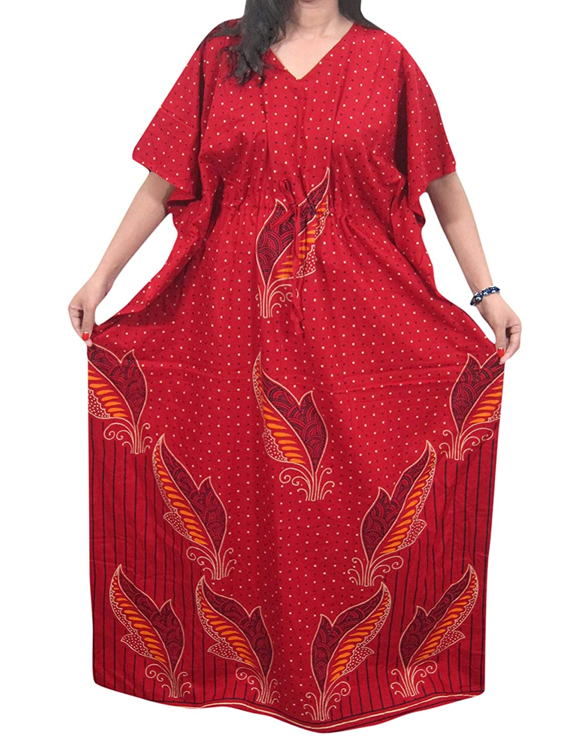 Mogul Interior Womens Red Cotton Kimono Kaftan Hippie Caftan Dress Onesize m-nit-207a