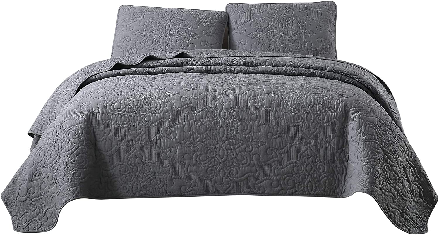 Chezmoi Collection Frederick 3-Piece Cooling Bamboo Fiber Quilt Bedspread Embroidered Medallion Damask Woven Quilted Coverlet Set (Queen, Charcoal Gray)