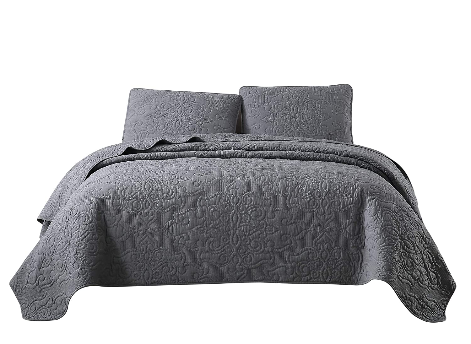 Chezmoi Collection Frederick 3-Piece Cooling Bamboo Fiber Quilt Bedspread Embroidered Medallion Damask Woven Quilted Coverlet Set (King, Charcoal Gray)