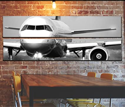 Amazon.com: Large Jet Airplane Wall Art Picture on Canvas Pieces ...