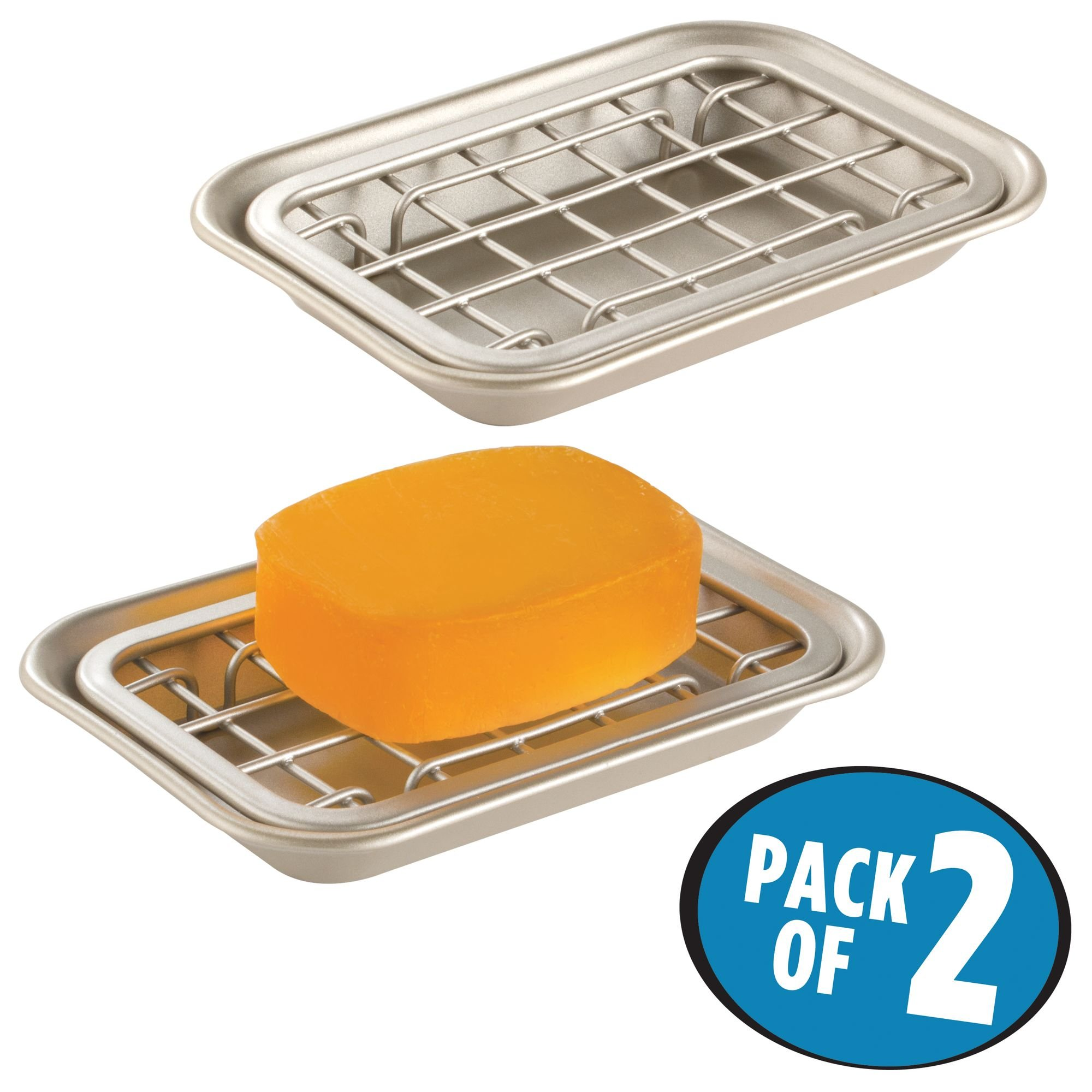 mDesign 2-Piece Soap Dish Tray for Kitchen Sink Countertops: Drainer and Holder for Soap, Sponges - Drainage Grid with Tray - Pack of 2, Rust Resistant Stainless Steel Metal in Satin Finish