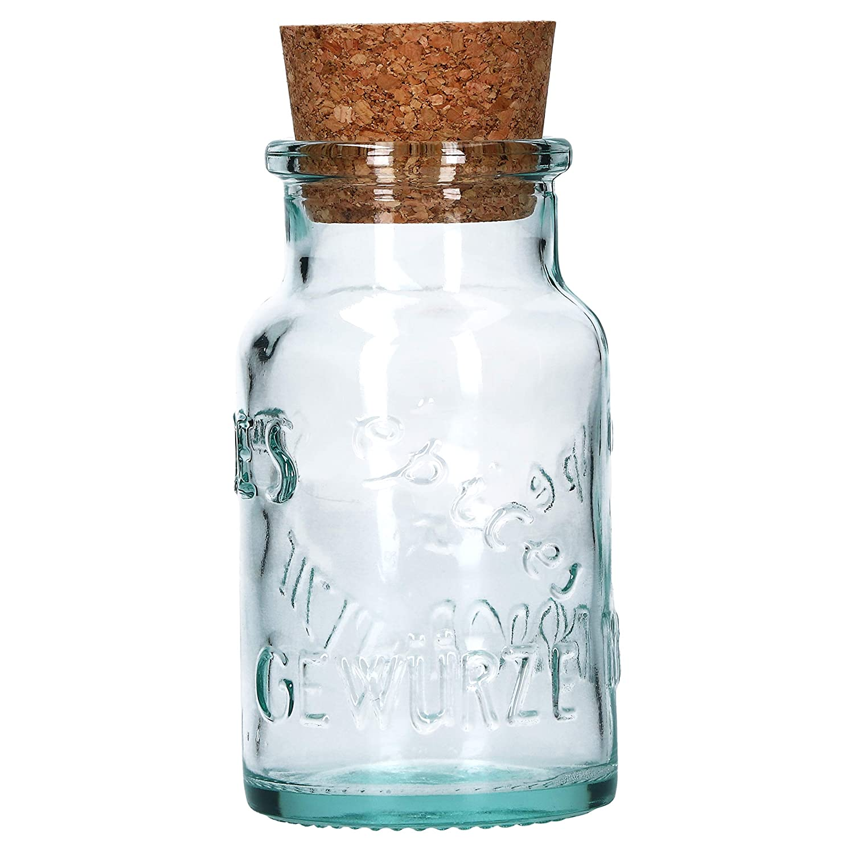 MamboCat Juego de 6 tarros de Cristal Redondos para Especias 125 ml, Tapa de Corcho Natural, con Relieve de Cristal