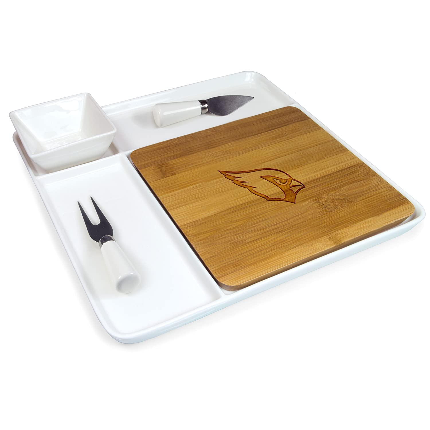 NFL Arizona Cardinals Homegating Peninsula Serving Tray with Cutting Board and Cheese Tools Picnic Time 953-05-505-013-2