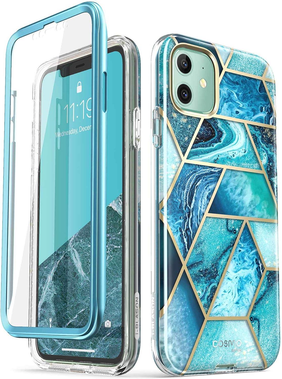 i-Blason Funda iPhone 11 [Cosmo] 360 Carcasa Completa con Protector de Pantalla Incorporada (Mármol) (Ocean)