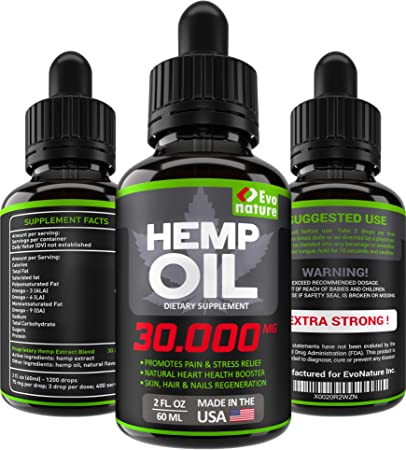 Hemp Oil 30000 MG - Extra Strength for BIO-Efficacy - 100% Natural & Safe  Hemp Seed Oil - Stress &