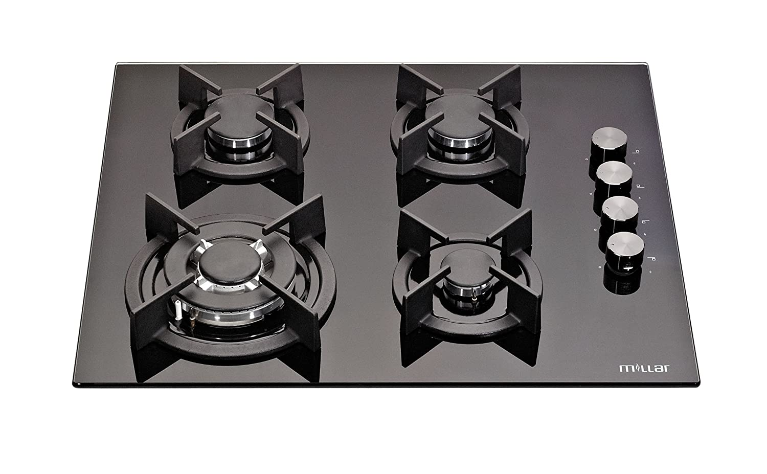 MILLAR GH6041XEB 60cm Built-in 4 Burner Black Gas on Glass Hob/Cooker / Cooktop with FFD