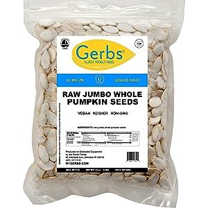 GERBS Raw Jumbo Whole Pumpkin Seeds, 32 ounce Bag, Top 14 Food Allergy Free, Non GMO, Vegan, Keto, Paleo Friendly