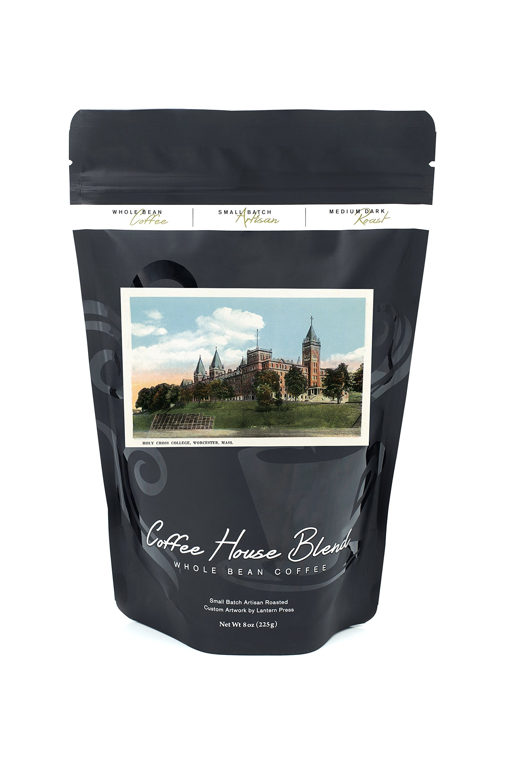 Worcester, Massachusetts - Campus View of Holy Cross College (8oz Whole Bean Small Batch Artisan Coffee - Bold & Strong Medium Dark Roast w/Artwork)