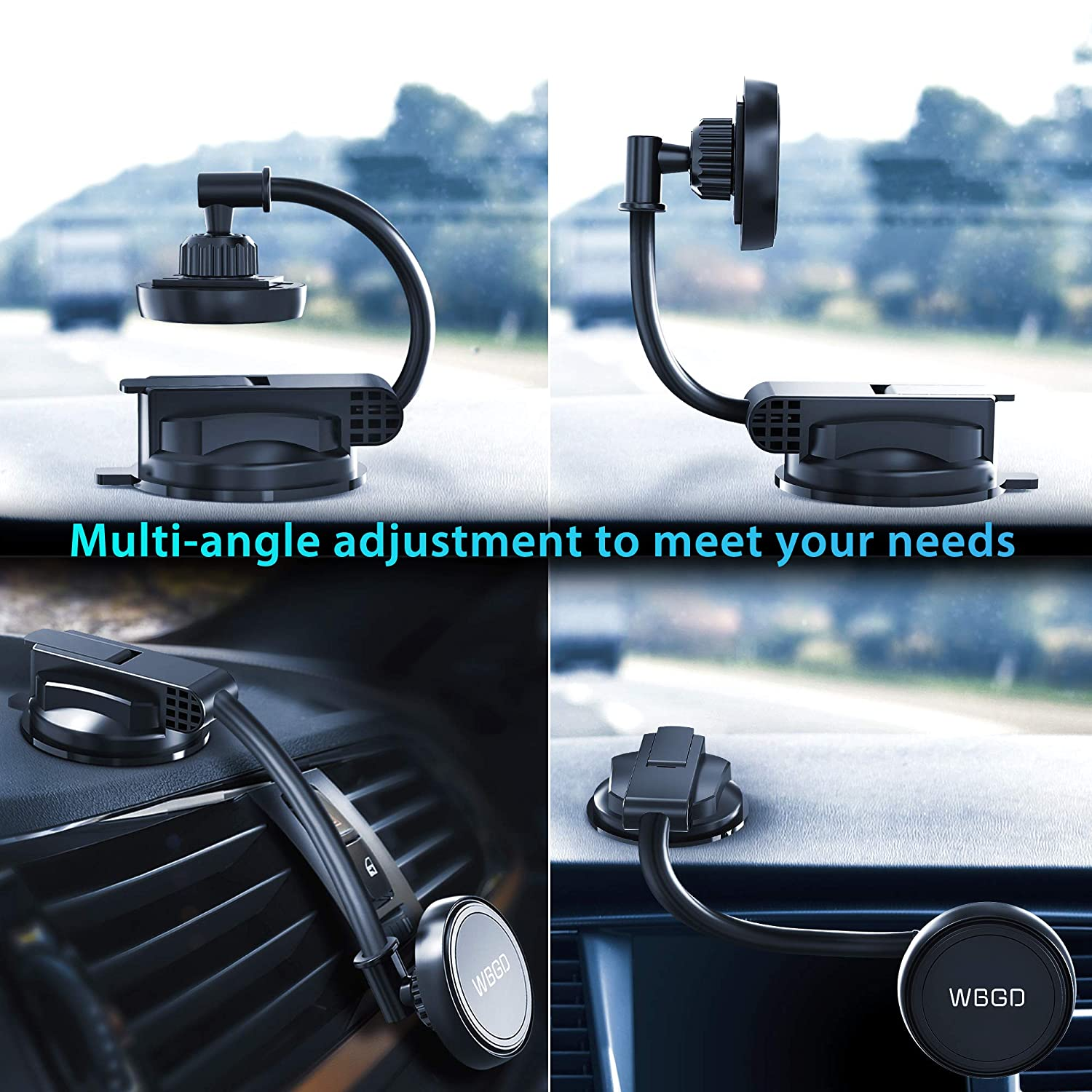 Compatible with All Phone Universal Magnetic Phone Car Mount with 4 Powerful Metal Plates Super Sticky Suction Cup Cell Phone Holder for Car Dashboard Windshield Air Vent
