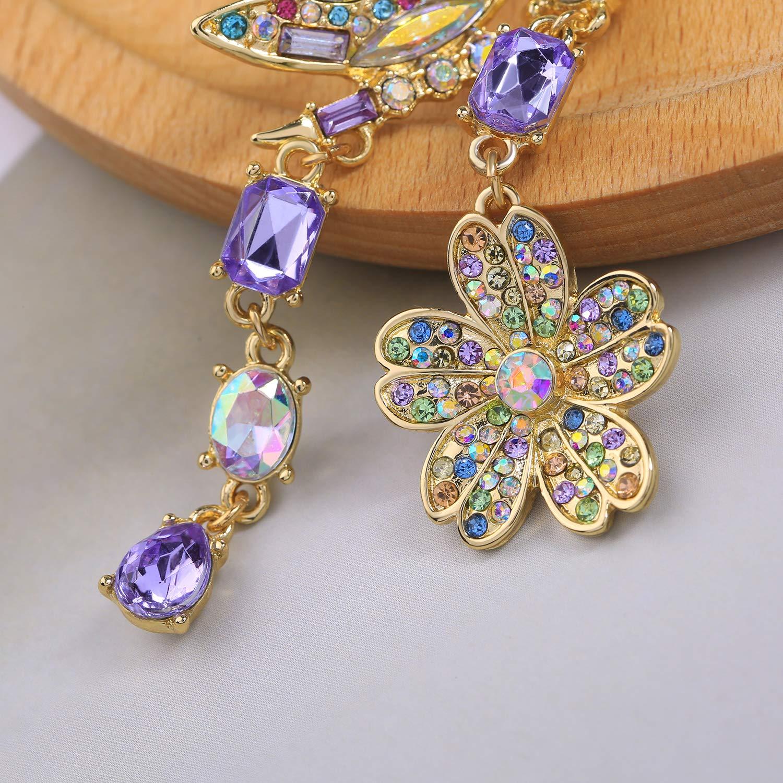 Miss Kiss Acrylic Crystal Asymmetrical Dangle Drop Earrings Jewelry for Womens Girls ED00545c