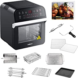 GoWISE USA GW44800-O Deluxe 12.7-Quarts 15-in-1 Electric Air Fryer Oven w/Rotisserie and Dehydrator + 50 Recipes, Black/Silver (Renewed)
