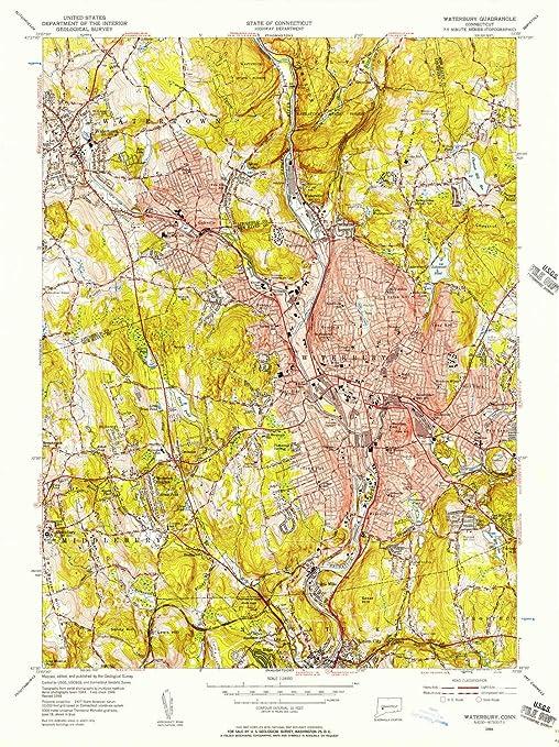 Amazon.com : YellowMaps Waterbury CT topo map, 1:24000 Scale, 7.5 X ...