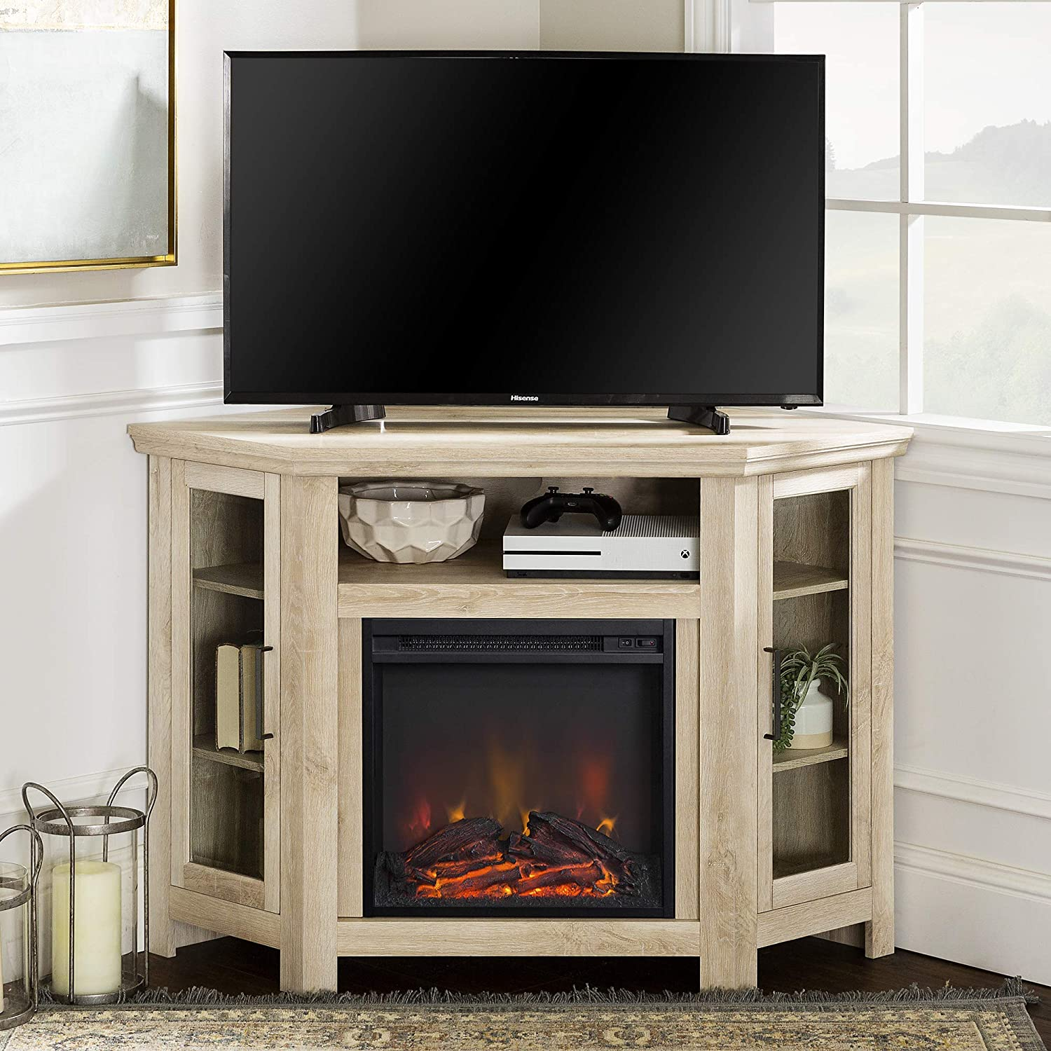 Amazon Com Walker Edison Alcott Classic Glass Door Fireplace Corner Tv Stand For Tvs Up To 55 Inches 48 Inch White Oak Furniture Decor