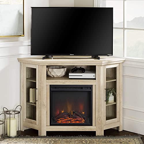 Walker Edison Tall Wood Corner Fireplace Stand for TV s up to 55 Flat Screen Living Room Entertainment Center, 48 Inch, White Oak