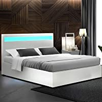 Artiss Double Bed Frame Leather with Gas Lift Storage and LED Headboard, White