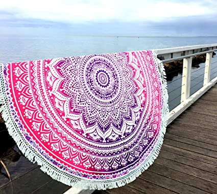 Aakriti Gallery Indian Ombre Mandala Round Tapestry Roundie with frill Beach Throw Cotton Beach Towel,