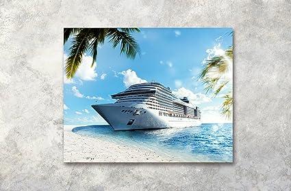LB Sole spiaggia oceano yacht foglie di palma foto stampa su tela ...