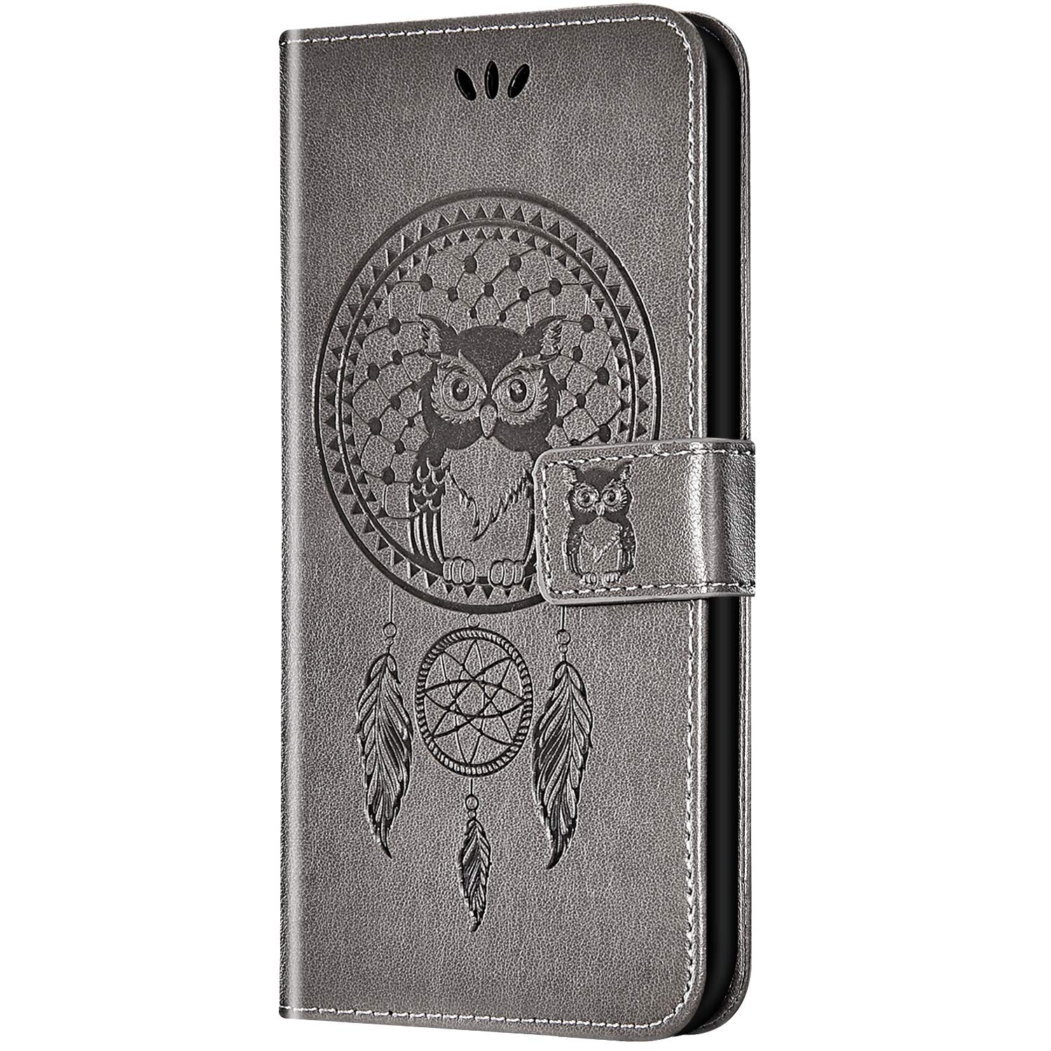 Case for Galaxy J3 2018 Flip Case Ultra Slim PU Leather Wallet with Card Holder/Slot and Magnetic Closure Shockproof Cartoon Animal Owl Embossed Protective Cover for Galaxy J3 2018,Gray by ikasus