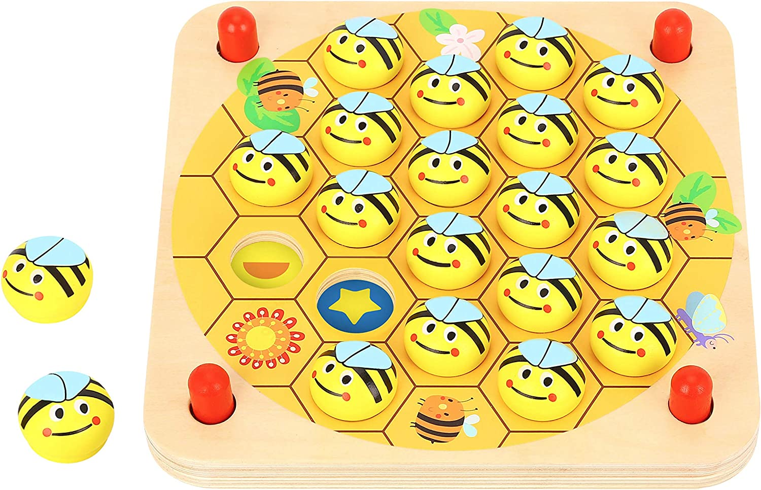 Pidoko Kids Garden Bug Memory Game - Wooden Toys for Boys and Girls