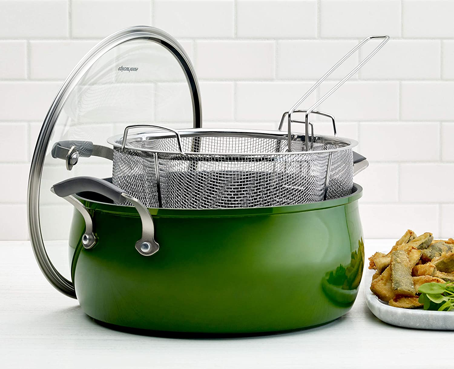 Epicurious Cookware Collection- Dishwasher Safe Oven Safe, Nonstick Aluminum 3 Piece Green Fry Basket Set