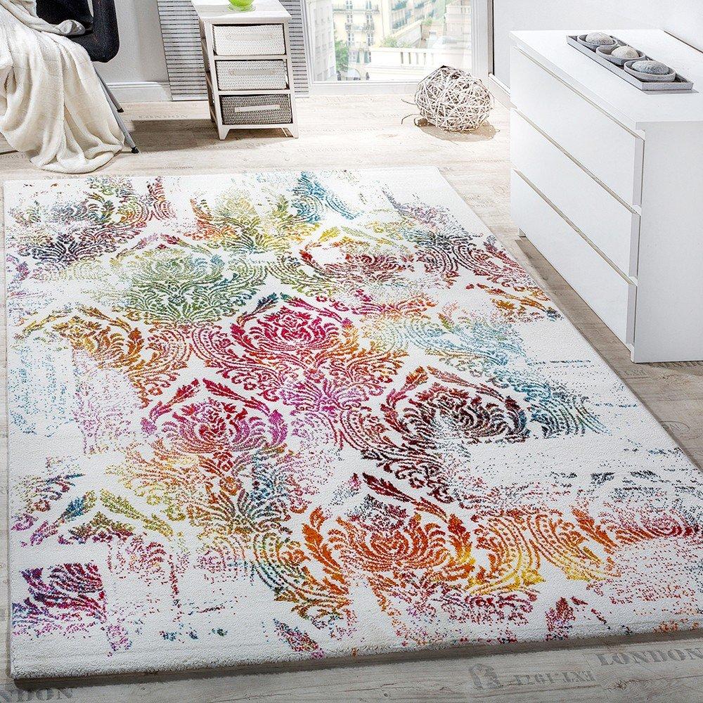 PHC Teppich Modern Leinwand Optik Teppich Floral Ornament Muster Bunt Creme  Türkis, Grösse:160x230 Cm: Amazon.de: Küche U0026 Haushalt