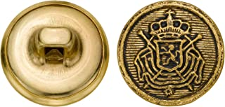 product image for C&C Metal Products 5266 Royal Crest Metal Button, Size 24 Ligne, Antique Gold, 72-Pack