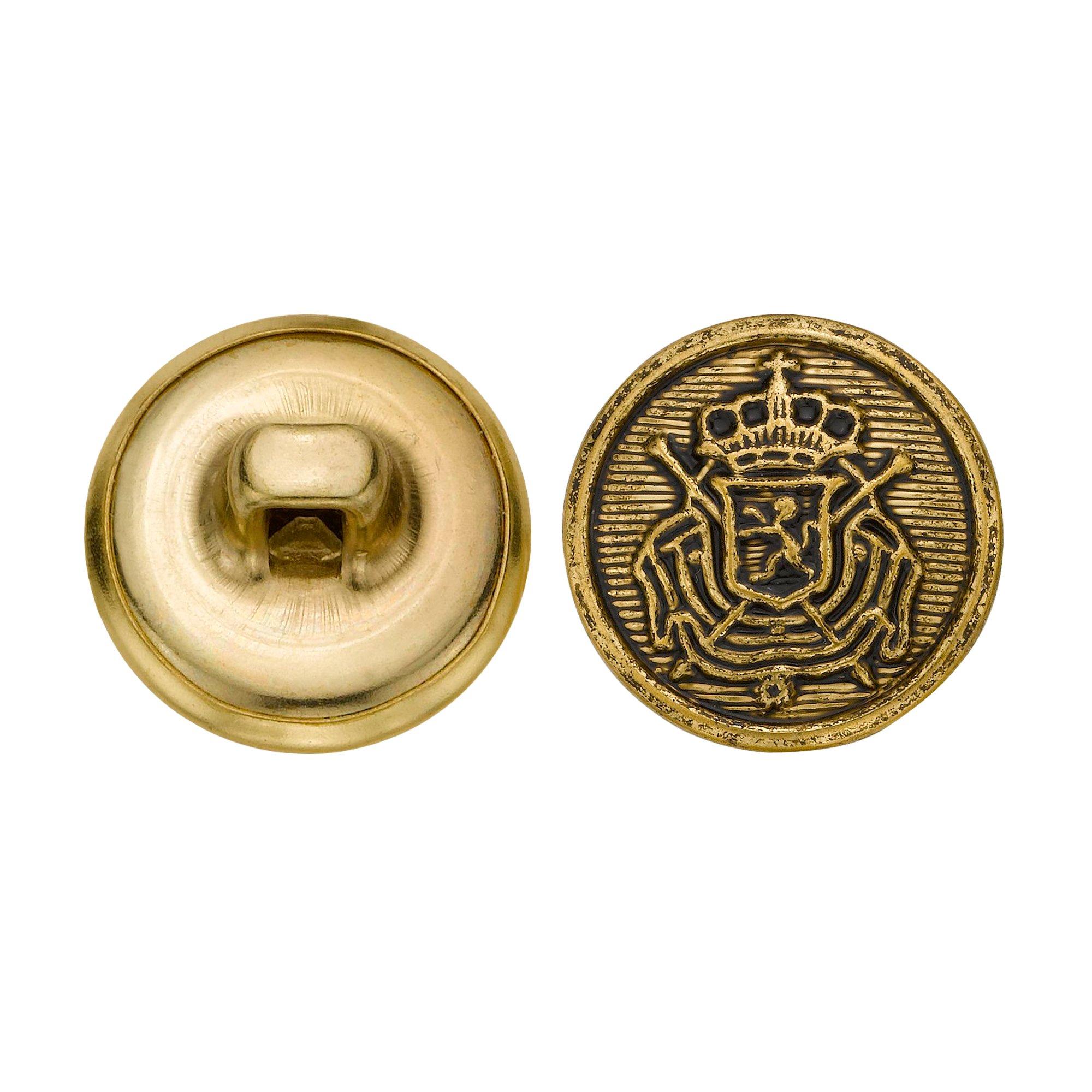 C&C Metal Products 5266 Royal Crest Metal Button, Size 24 Ligne, Antique Gold, 72-Pack