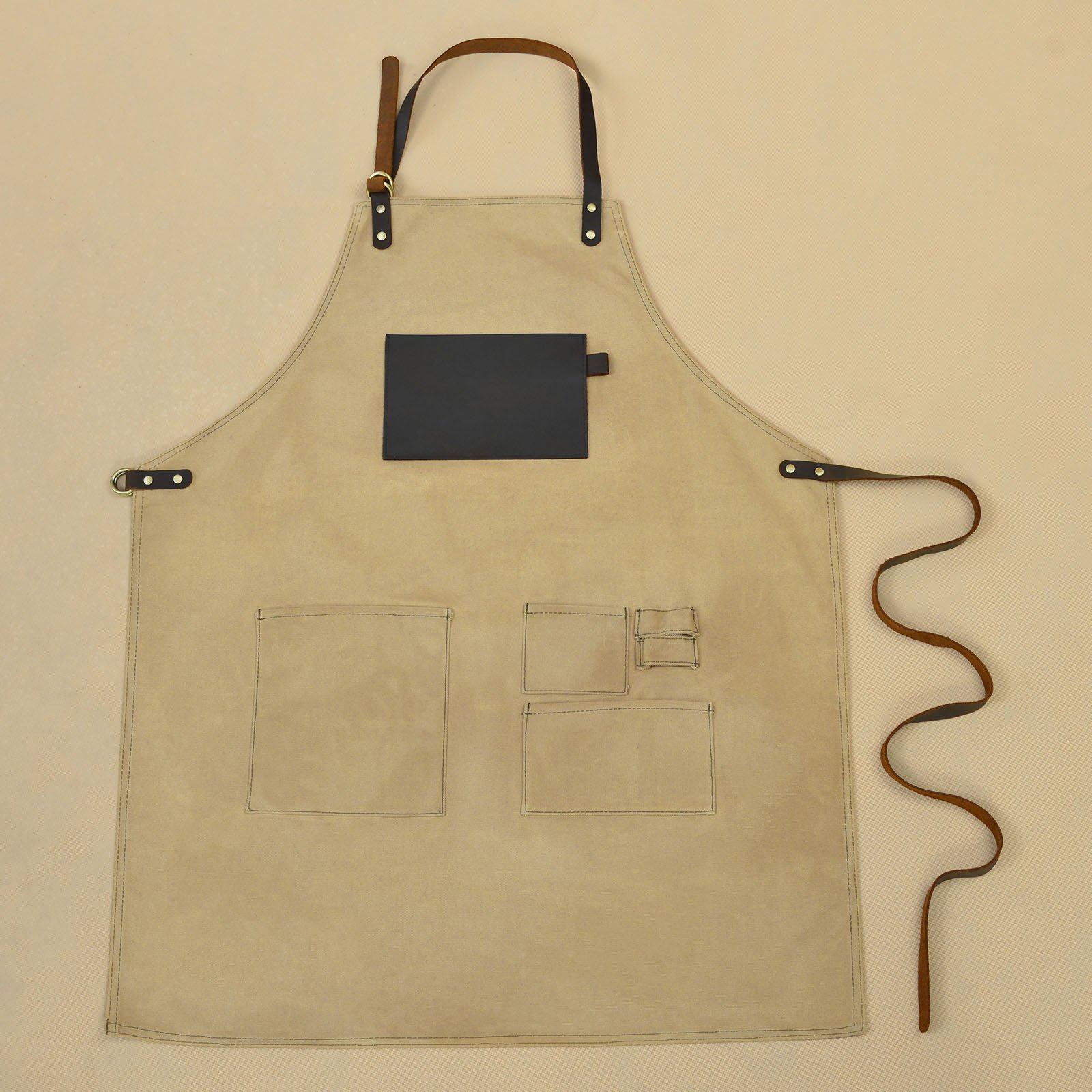 VEEYOO Heavy Duty Waxed Canvas Utility Apron with Pockets, Adjustable Shop Work Tool Welding Apron for Men and Women, Tan, 27x34 inches by VEEYOO (Image #5)