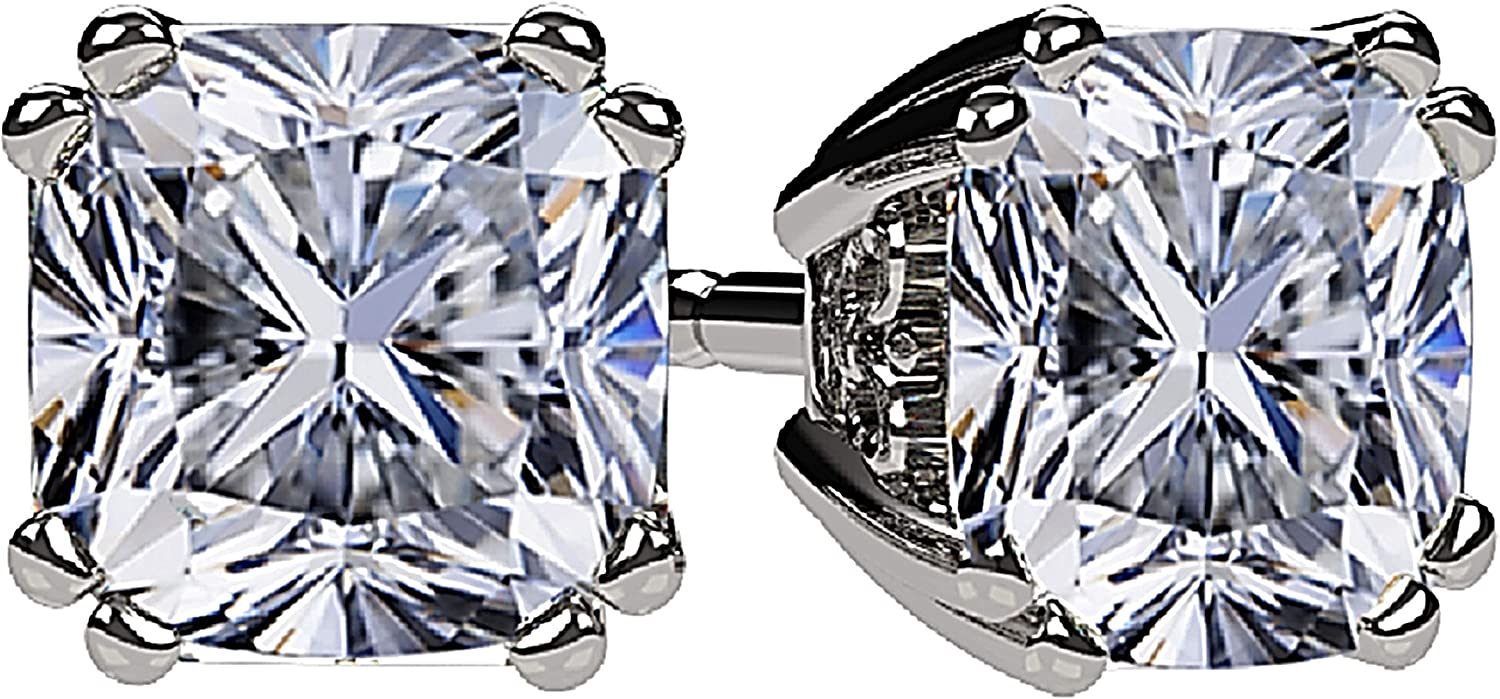 NANA Cushion-Cut Stud Earrings Swarovski Zirconia Silver & 14k Solid Gold Post 0.60cttw - 4.00ct. Weight