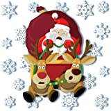 Articlings Crashing Santa with 28 Snowflake Window Clings - Non-Adhesive Vinyl Stickers – Superb Christmas Decorations!