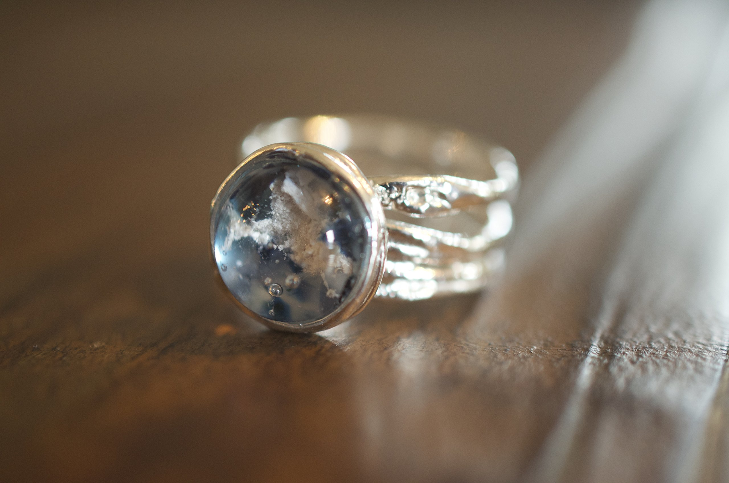 The Freya Glass Cremation Ring made with ashes and glass