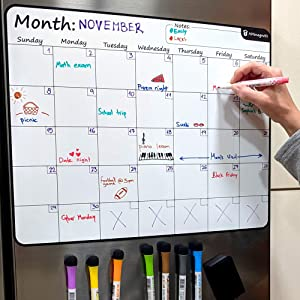 "Large 17.5""x13.5"" Dry-Erase Magnetic Monthly Calendar (Organizer/Planner) for Kitchen Fridge (Full Set: 8 Markers + Eraser) & Free Bonus: 3 Grocery/to-Do List Whiteboards (Stain Free) 
