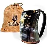 "Norse Tradesman Genuine Viking Drinking Horn Mug Tankard w/ Rosewood Bottom and Ring Engravings | 24 Ounces | The ""Eternal"""
